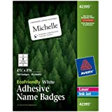 Avery EcoFriendly Name Badge Labels for Laser and Ink Jet Printers, 2.33 x 3.375 Inches, White, Permanent, Pack of 160 (42395)