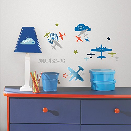 RoomMates RMK2718SCS Zutano Aviation Peel and Stick Wall Decals - 1
