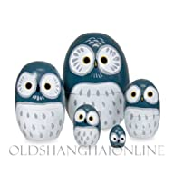 Wood Nesting Doll – Owl (Blue)
