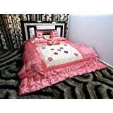 Peponi Satin Pink Wedding Bedding Set 8 Pcs (Quilt, Double Bed Sheet, 2 Pillow Covers, 2 Filled Cushions, 2 Filled...