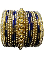 Shivam Blue Glass & Brass Bangle Set For Women - 2.4