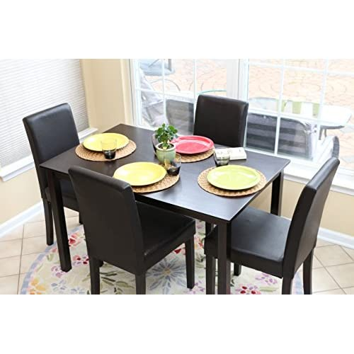 5 PC Black Leather 4 Person Table and Chairs Brown Dining Dinette - Black Parson Chair