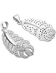 1pc Top Quality Silver Magic Feather Charm/Pendant With Cubic Zirconia Pave # MCAC25