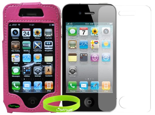 Premium Pink Belt Clip Leather Case Cover with Screen Protector for AT&T Sprint Verizon Apple iPhone 4S. CrazyOnDigital Retail Package