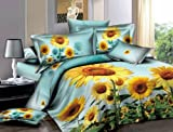 Bch 100% Cotton Reactive Printing Duvet Cover Set Set of 4 Queen Size American Fashionable Style Sunflower Pattern Blue Background