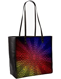 Abstract Sun Rays Obo, Shoulder Bag Tote Faux Leather Handbag Satchel Tote