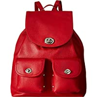 Coach Women's Turnlock Tie Rucksack in Pebble Leather (SV/True Red)