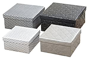 set of 4 chic quilted and studded boxes for decorative gift stacking or storage. Black Bedroom Furniture Sets. Home Design Ideas