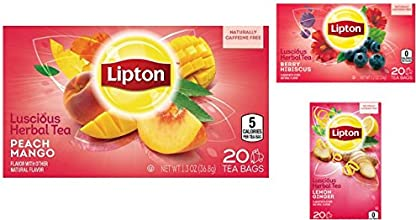 Lipton Luscious Herbal Tea Variety Bundle 1-Box with 20 tea bags Pack of 3 includes 1-Box Lemon Ging