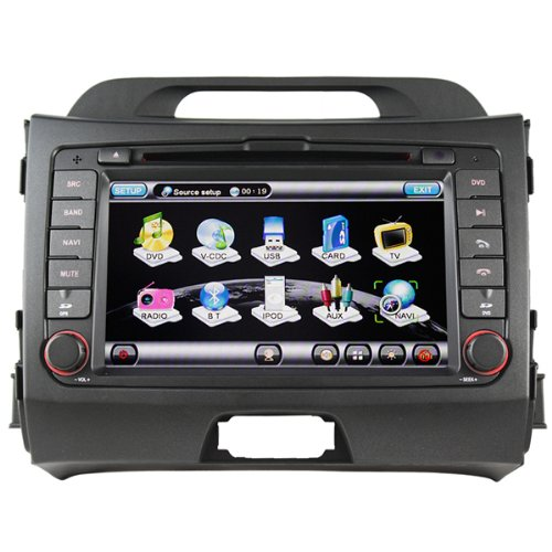 """Koolertron® For 2010 2011 KIA Sportage / In-Dash 7"""" Touchscreen DVD Player with GPS Navigation / PIP RDS(OEM Factory Style,Free Map)"""
