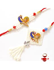 Ethnic Rakhi Designer Colorful Floral Pattern Fashionable And Stylish Bhaiya Bhabhi Mauli Thread And Beads Rakhi...