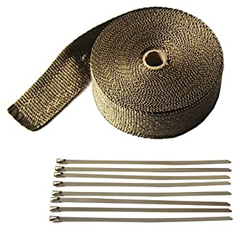 "LEDAUT 2"" x 50' Titanium Exhaust Heat Wrap Roll for Motorcycle Fiberglass Heat Shield Tape with Stainless Ties"