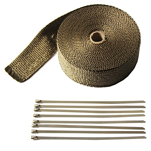 """LEDAUT 2"""" x 50' Titanium Exhaust Heat Wrap Roll for Motorcycle Fiberglass Heat Shield Tape with Stainless Ties 1"""
