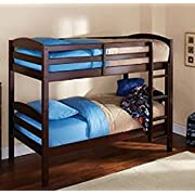 Mainstays Twin Over Twin Wood Bunk Bed, Espresso
