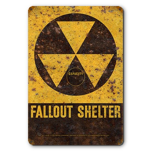 Fallout Shelter Tin Metal Sign :: Reproduction of Old Rusted Vintage Sign - 11.5 x 17.5 inches