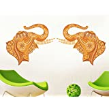 StickersKart Wall Stickers Pair Of Decorative Elephant (Wall Covering Area: 105cm X 45cm)