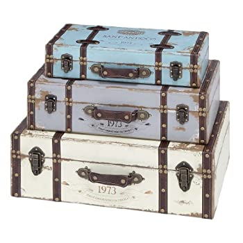Deco 79 Wood Trunk, 23 by 21 by 18-Inch, Set of 3