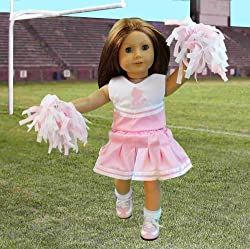 "Doll Clothes for American Girl Dolls: 6 Piece Cheerleading Outfit - ""Dress Along Dolly"" (Includes 2 Pom Poms, Cheerleading Outfit, Socks, and Cheer Shoes)"
