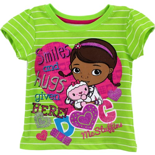 Disney Little Girls' Doc Mcstuffin Smiles and Hugs Short Sleeve Tee, Green, 2T