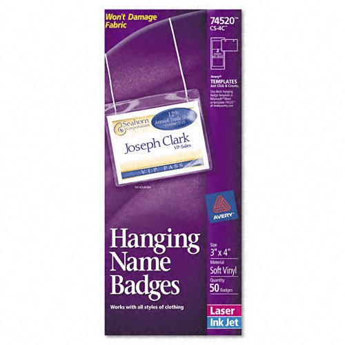 """Avery Products - Avery - Neck Hanging-Style Flexible Badge Holders, Top Load, 3 x 4, White, 50/Box - Sold As 1 Box - Holders made of soft, PVC-free plastic. - Two-sided printing capability on inserts. - Non-elastic, 36"""" neck cord and micro-perforated inserts included. - Top-loading pouch holds badge inserts firmly in place; won't damage fabric. - Preset layouts in popular software programs make formatting easy."""