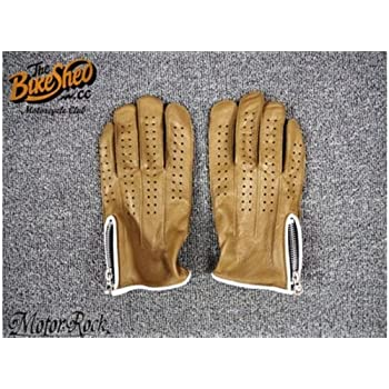 New Deerskin Leather Retro Vintage Motorcycle Gloves Riding Zipper Hole Brown