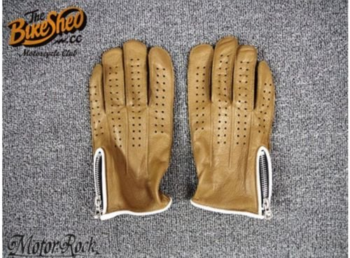 New Deerskin Leather Retro Vintage Motorcycle Gloves Riding Zipper Hole Brown 1
