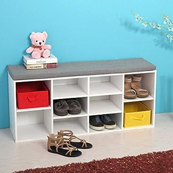 JAXPETY White Shoe Storage Cubbie Shoe Bench Fabric Wood Shoe Rack Storage Organizer