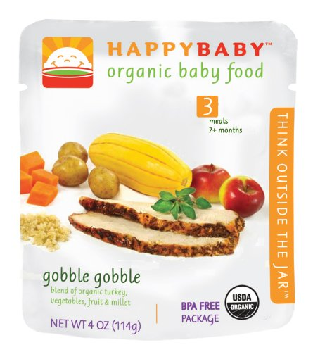 HAPPYBABY Organic Baby Food, Stage 3, Gobble Gobble, 4 Ounce Pouch (Pack of 16)
