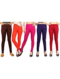 Comix Cotton Hosiery Fabric Women Legging Combo Set Of 5 - B01KOBU39W