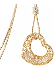Asma High Quality Luxury Long Sweater Necklace Chain 18K Gold Plated Heart Pendant With Cubic Zirconia For Women