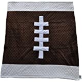 "Cozy Wozy Football Themed Minky Baby Blanket, Brown/White, 30"" X 36"""