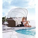 XXL Poly Rattan Sonneninsel Sonnenliege Strandkorb Garten Lounge Muschel aus Rundgeplecht in natur / weiß
