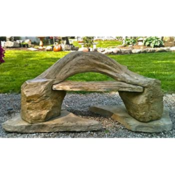 """Garden Bench"" Wooden Bench, Cast Stone Petrified Wood Bench, ""Outdoor Garden Patio Bench"" 2 Piece Hand Sculpted Rustic Wooden Garden Bench Outdoor Decor"