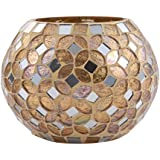 Vaibhav Gold Glossy Decorative Glass Finish Floor/Table Decorative Ball Vase Mirror Candle Holder