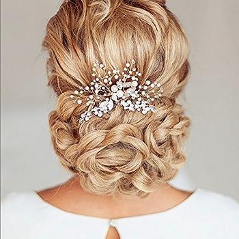 Venusvi Vintage Wedding Hair Combs with Bead and Rhinestones - Bridal Headpiece for Bridesmaids
