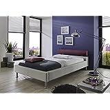 Doppelbett Polsterbett 106084000 weiß Kunstleder / aubergine Stoffbezug 160x200cm
