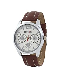 T STAR UFT-TSW-001-WH-BR White Dial Brown Strap Round Analog Watch For Men