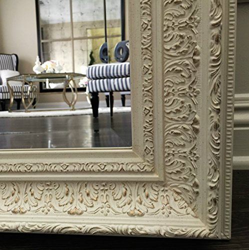 West Frames Elegance Ornate Embossed Antique White Wood Framed Floor Mirror 5