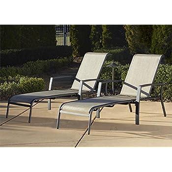 Cosco Outdoor Adjustable Aluminum Chaise Lounge Chair Serene Ridge Patio Furniture Set, 2 PK, Dark Brown