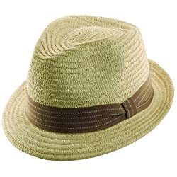 Women's Paper Braid Fedora Hat With Colored Band Stripe - Brown