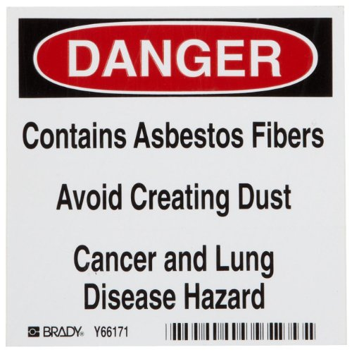 "Brady 60240 4"" Height, 4"" Width, Self-Adhesive Vinyl, Black And Red On White Asbestos Label, Legend ""Danger, Contains Asbestos Fibers Avoid Creating Dust Cancer And Lung Disease Hazard""(Pack Of 100)"