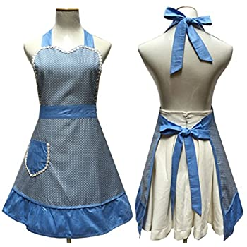 Lovely Sweetheart Retro Kitchen Aprons Woman Girl Cotton Cooking Salon Pinafore Vintage Apron Dress with Pocket,Blue