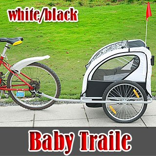 Black White 2IN1 Double Child Baby Bike Trailer Stroller Jogger