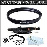 Vivitar 77mm UV Haze (Ultra Violet) Multi Coated Glass Filter For Nikon 24-120mm F/4G ED VR AF-S NIKKOR Lens For Nikon Digital SLR (model 2193) + Lens Cap Keeper + LensPen Cleaner + More