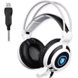 GW SADES SA905 Wired USB PC Gaming Headset Over-Ear Headband Headphones With Microphone Vibration LED Lights(Black...