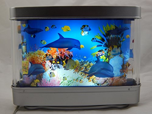 12 Inch Dolphin Aquarium Lamp Ocean In Motion Revolving