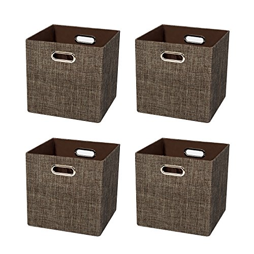 Posprica Cube Organizers Storage Bin Basket Boxes Container Cabinet Drawer for Bedroom, Closet, Toys, Laundry (4, Brown)