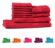 Trident Light and Vibrant Combed Cotton 10-Pieces (Bath, Hand & Wash Cloth) Towel Set, Red