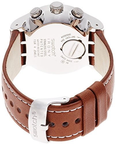Swatch Alpine Vintage Green Dial Brown Leather Mens Watch YOS450 1