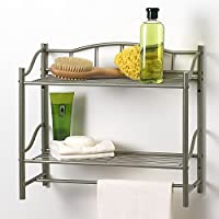Creative Bath Products Complete Collection 2 Shelf Wall Organizer with Towel Bar (Satin Nickel)
